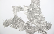 <p>Still Life#10, Pen drawing Collage on Paper, 36''x48'', 2011</p>