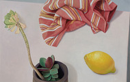 <p><em>Untitled (Composition with Lemon)</em>, acrylic on canvas,&nbsp;21 x 16 inches, 2012</p>