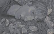 <p><em>Fall Forward</em>, black and white chalk on paper,19.5 x 19.5 inches,2011</p>