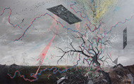"""<p>Last Available Image from Transmission Site</p> <p>acrylic on canvas, 62x102"""" 2012</p>"""