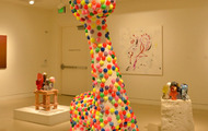 "<p>Bubblewrap Giraffe / 2013 / Fiberglass resin, mixed media / 42 x 38 x 26""</p>"
