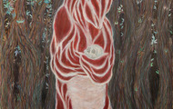 """<p>Bear in Forest, 2013 / Color pencil on paper / 30 x 22""""</p>"""