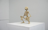 "<p>Shitting Skeleton / 2010 / Wood / 10 x 8 x 5""</p>"