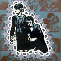 "<p><em>Alone With You 1</em>, 2009, 14""x11"", Ink, acrylic and screenprint on three panes of glass. </p>"