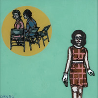 """<p><em>She Made It After All 5</em>, 2009, 8""""x8"""", Ink, acrylic and screenprint on two panes of glass.</p>"""