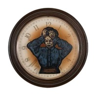 "<p><em>The Hours 8</em>, 2009, 9""diam. Ink, acrylic and polyurethane in clock. </p>"
