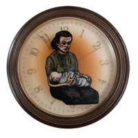 "<p><em>The Hours 9</em>, 2009, 9""diam. Ink, acrylic and polyurethane in clock. </p>"