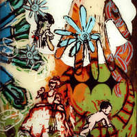 """<p><em>A Classical Sound</em>, 2004, 14""""x11"""", Ink and acrylic on two panes of glass.</p>"""