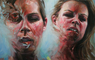 "<p>Double Fatigue  35"" x 45""  oil on canvas     2012</p>"