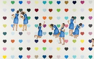 <p><em>DH-1 Girls with Hearts</em>, 2009, 68 x 120 inches, colored pencil and acrylic on panel</p>