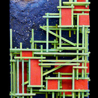 """<p><span id=""""fbPhotoSnowliftCaption"""" class=""""fbPhotosPhotoCaption""""><span id=""""fbPhotoSnowliftCaption"""" class=""""fbPhotosPhotoCaption"""">Green City - 6""""x24"""" Mixed media on canvas. 2014</span></span></p> <p><span id=""""fbPhotoSnowliftCaption"""" class=""""fbPhotosPhotoCaption""""><span id=""""fbPhotoSnowliftCaption"""" class=""""fbPhotosPhotoCaption"""">My 7th Marble track. <span id=""""fbPhotoSnowliftCaption"""" class=""""fbPhotosPhotoCaption"""">The structure built around the textured abstract parts is a track that glass marbles can roll down through the painting. </span>It features a super textured night sky background with glow in the dark stars, the Moon and some comets. There is silver metal leaf on the crescent moon that wraps around a hand blown glass marble. The comets are wrapped in copper and red variegated metal leaf. The first track to have a new concept of being able to see under the ground where the city is. You can see a skeleton burried there with some selenite crystals around him that i dug up myself. The skeleton is painted with my crushed up baby teeth. </span></span></p>"""