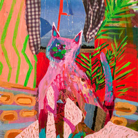 <p><em>Cat Yearning, </em>acrylic and collage on paper, 6 x 7.75 inches</p>