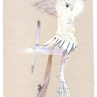 <p>Helidancer, 2014.  Mixed media and found objects on fabriano paper, 4 x 6 inches</p>