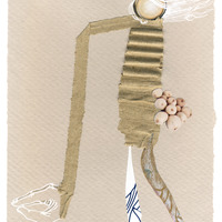 <p>Cherry Picker, 2014.  Mixed media and found objects on fabriano paper, 6 x 8 inches</p>