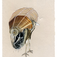 <p>Honey Hive or Thanksgiving Turkey, 2014. Mixed media on fabriano paper, 6 x 8 inches</p>