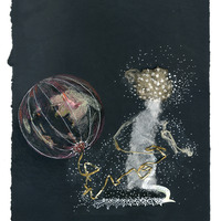 <p>Ballooner, 2014.  Mixed media and found objects on fabriano paper, 8 x 10 inches</p>