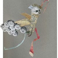 <p>Cloud Jumper, 2014.  Mixed media and found objects on fabriano paper, 9.5 x 12 inches</p>