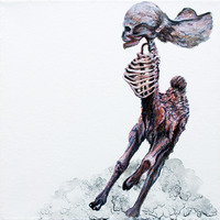 <p>Running Buckskull, 2011.  Watercolor, gouache, and ink on stretched paper, 8 x 8 inches</p>