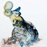 <p>Tumor Toadstool, 2011.&nbsp; Watercolor, gouache, and ink on stretched paper, 8 x 8 inches</p>