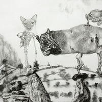 <p>Fuyapasa Landscape 1 : Fattythrush at the Gates (detail 4), 2011.  Graphite on bristol paper, 156 x 36 inches</p>