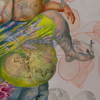 <p>Standing incubation (detail), 2010. Oil and graphite on unstretched linen, 86 x 79 inches. Photo credit Kris Graves.</p>