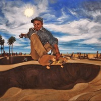 """<p style=""""text-align: center;"""">Venice Skateboarder</p> <p style=""""text-align: center;"""">12"""" x 16""""</p> <p style=""""text-align: center;"""">Oil on paper</p> <p style=""""text-align: center;"""">(private collection)</p>"""