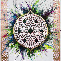 <p>Untitled (Bab Huda) 2013, mixed media on hand-cut paper, 108 x 72 inches</p>