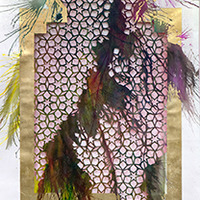 <p>Untitled (shubbak VI) 2013, mixed media on hand-cut paper, 72 x 29 inches</p>
