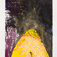 <p>Untitled (coop study 2), 2013, mixed media on hand cut paper, 24 x 10 inches</p>