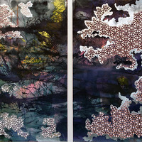<p><span>Untitled (sand storm), 2011, Mixed media on paper, Diptych, 49 x 36 inches each panel</span></p>
