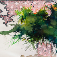 <p><span>Untitled (smoke screen), 2008, Watercolor, ink and silver leaf on hand cut paper, 49 x 76 inches</span></p>