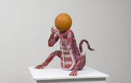 "<p>Flesh Monkey with Orange Head &nbsp; 28 x 25 x 26"" &nbsp;&nbsp; painted clay &nbsp; &nbsp; 2018</p>