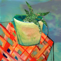 <p><em>Sea Plant,</em><span>acrylic and collage on placemat, 5 x 5 inches</span></p>