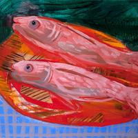 <p><em>Cad Red Fishes</em>, acrylic and collage on paper, 9 x 12 inches</p>