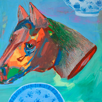 <p><em>Horse Head</em>, acrylic and collage on panel, 8 x 10 inches</p>