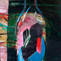 <p><em>Bottle,</em>acrylic and collage on paper</p>