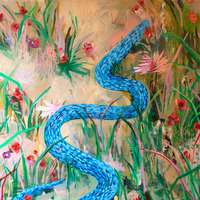 <p><em>Blue Snake, </em>acrylic and collage on panel, 24 x 24 inches</p>
