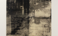 "<p><em>Untitled</em>, 2012, Copy-machine toner on canvas, 57"" x 75 1/2""</p>"