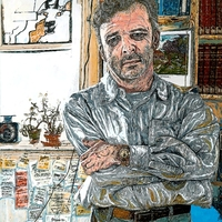 "<p>'the bookseller' Acrylic, ink + grpahite on 26.25""by38.25"" MDF (30.7""by43.3"" framed). 2014-15. </p>