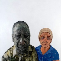"""<p style=""""text-align: center;""""><span>tumblr_ljk307ydcz1qc7zsbo1_1280 X old portuguese woman</span></p> <p style=""""text-align: center;""""><span>Acrylic, ink, charcoal + graphite on 36""""by36"""" panel. Collaboration with Sherry Garcia. 2012.</span></p>"""