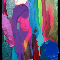 """<p>Untitled - 20""""x60"""" Mixed media on stretched canvas. 2015</p> <p>(iridescent/colour changing acrylic)</p>"""