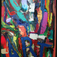 """<p>ART - 40""""x60"""" Mixed media on stretched canvas. 2015</p> <p>(stone, iridescent/colour changing paint)</p>"""