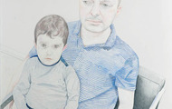 <p>Danny and Rex, color pencil and chalk on paper, 2014</p>