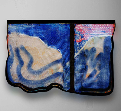 """<p>El Corte de Abajo, 2014</p> <p>15""""x 26"""" (38cm x 66cm)</p> <p>Carved Acrylic, Spray Paint and Wood</p>"""