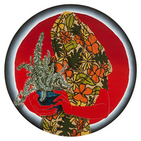 "<div>Perpetual Grip, 2015, Acrylic and colored pencil on panel, 24"" in diameter</div>"