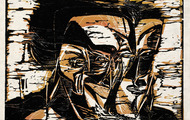 <p><em>The Faces of Man</em>, 1963, Woodcut on rice paper, 14.5 X 11.5 inches.</p>