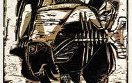 <p><em>Fishes</em>, 1963, Woodcut on rice paper, 14.5 X 11.5 inches.</p>