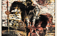 <p><em>Mounted Warrior</em>, 1963, Woodcut on rice paper, 14.5 X 11.5 inches.</p>