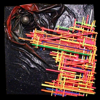"""<p><span id=""""fbPhotoSnowliftCaption"""" class=""""fbPhotosPhotoCaption"""" data-mce-mark=""""1"""">Space Station - 30""""x30"""" Mixed media on stretched canvas. 2015</span></p> <p><span id=""""fbPhotoSnowliftCaption"""" class=""""fbPhotosPhotoCaption"""">My 34th marble track. <span id=""""fbPhotoSnowliftCaption"""" class=""""fbPhotosPhotoCaption"""">The structure built around the textured abstract parts is a track that glass marbles can roll down through the painting.</span>It features a super textured outer space background with a swirling galaxy, glow in the dark stars, and a fluorescent space station. The metal ball inside the galaxy is a large fracking ball. The marbles are planet and galaxy themed.<br /><br />(Acrylic, glitter, balsa wood, loose material, glass marbles, fracking ball)</span></p>"""