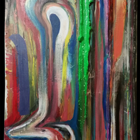 """<p>AKA6 - 16""""x20"""" Mixed media on stretched canvas. 2015</p> <p>(Silver leaf, antique/colour changing paint)</p>"""